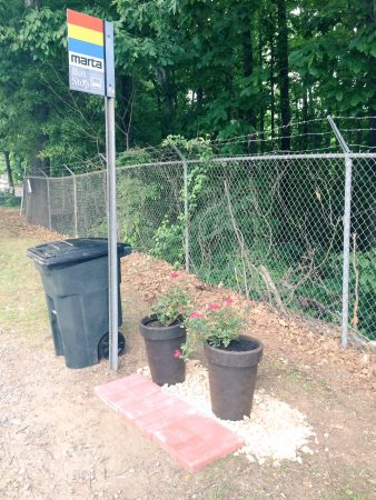 "The ""guerrilla gardening"" at a MARTA bus stop on Buford Highway in Chamblee, in a photo from the project's fundraising website."