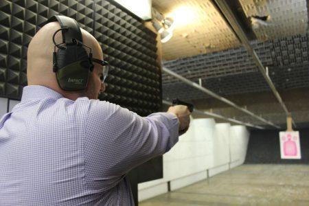 Zak Koffler shoots a Springfield XDM 9 mm handgun at Quickshot Buckhead. (Photo Dyana Bagby)