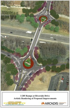 A new rendering of the final design of the Riverside Drive/I-285 roundabouts released by GDOT.