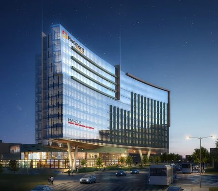 A conceptual rendering of Piedmont Atlanta Hospital's planned Marcus Heart and Vascular Center tower at Peachtree and Collier Roads.