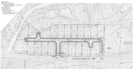 A plan of the proposed Glenridge Drive development, with Glenridge running along the map's bottom and Glenairy Drive to the left, from a city filing.