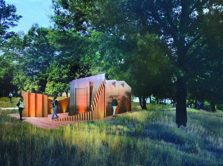 A rendering of the contemporary restroom design proposed for Brookhaven parks. (GreenbergFarrow)