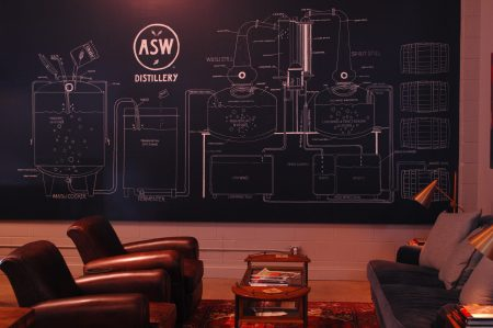 A large mural in the tasting room explains the whiskey-making process to visitors. (Photo Phil Mosier)
