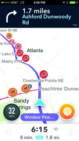 A screenshot of the Waze app showing how to avoid Sandy Springs traffic congestion on the way to Brookhaven.