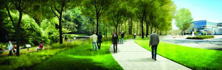 A rendering of what the same stretch would look like after completion of the Greenway. (Heath & Lineback Engineers)