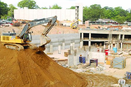 Construction underway at the City Springs site, with underground parking in the background, Aug. 12. (Photo Phil Mosier)