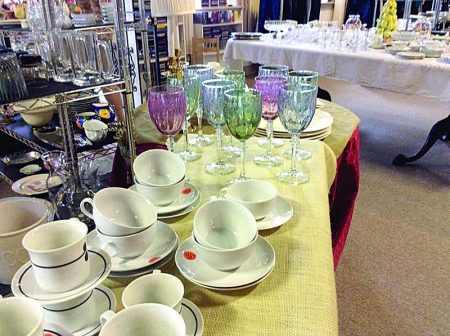Kitchen and glassware of all kinds are plentiful at the Cathedral Thrift House located at 1893 Piedmont Road.