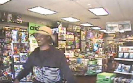 A screen shot of the suspected armed robber of the Buckhead Game Stop store.