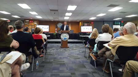 Mayor Rusty Paul speaks to residents about the Sandy Springs Circle plan Aug. 17 at City Hall. (Photo John Ruch)