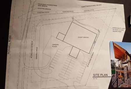 The site plan for the proposed riverfront event facility. (Photo John Ruch)