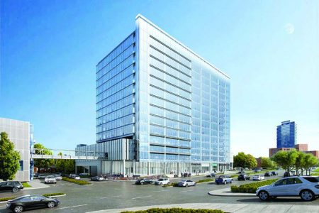 A rendering of Transwestern's proposed office tower next to the Dunwoody MARTA Station.