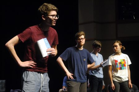 """Sam Reed, left, a student at The Galloway School in Sandy Springs, rehearses for """"The Complete Works of William Shakespeare, Abridged,"""" in the school's Chaddick Theater on Sept. 8. (Photo Phil Mosier)"""