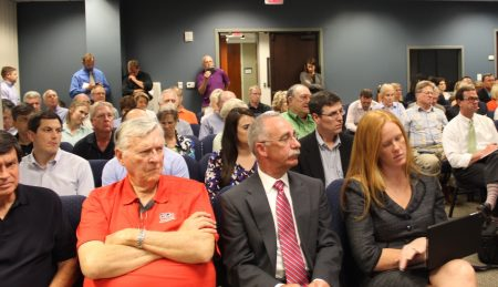 It was standing room only at the Sept. 12 Dunwoody City Council meeting with many people attending pleading with the council to postpone bulldozing Brook Run Theater. The council voted 6-1 to raze the building. (Photo Dyana Bagby)