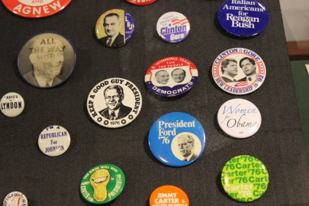 Some of the campaign buttons in the James and Camilla Comerford Collection at Oglethorpe University. (Photo Dyana Bagby)