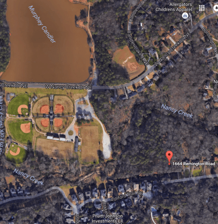 Brookhaven is looking into buying a strip of land totaling 1.7 acres that runs north and south at 1664 Remington Road. (Google Earth)