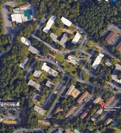 A Google Earth image of the apartment complexes slated for redevelopment on Buford Highway.