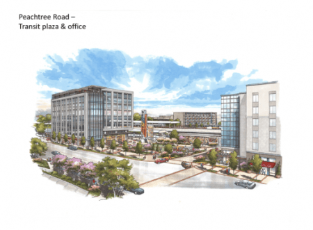 A rendering of the proposed glass office building fronting Peachtree Road.