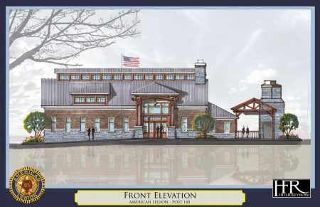 An illustration of the proposed new American Legion Post 140 building.