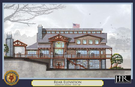 An illustration of the rear of the proposed American Legion Post 140 building.