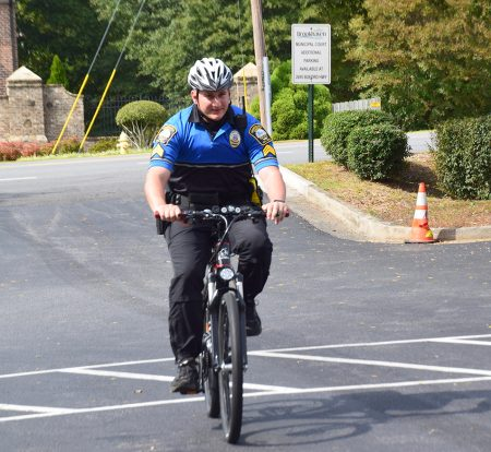 Sgt. Justin Young takes the department's new electric bike for a spin. (ElectroBike Georgia)