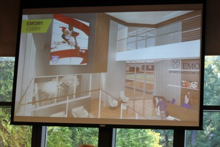 A rendering of the lobby of the new Atlanta Hawks and Emory Healthcare athletic facility being built in Executive Park. (Photo Dyana Bagby)