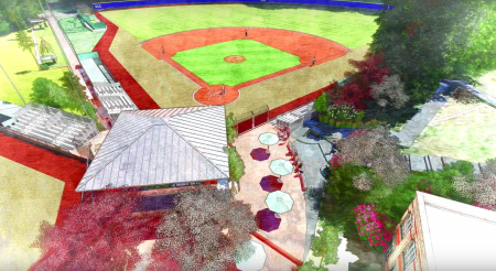An aerial view of one of the new baseball fields to be built at Peachtree Charter Middle School. A new concession stand, in foreground, will also be constructed.