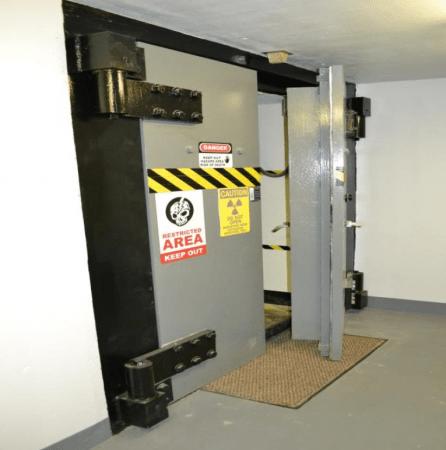 The nuclear bunker's blast-proof doors.