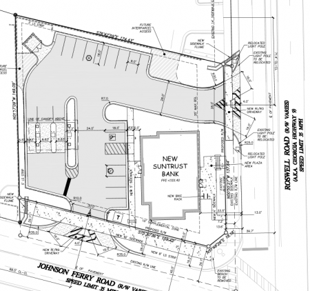 A plan of the proposed SunTrust bank at 6240 Roswell Road.
