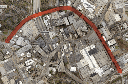 A map of the section of Lenox Road targeted for streetscape improvements from the BUCKHEAD REdeFINED master plan website.