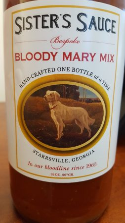 The label of Sister's Sauce bloody mary mix features the dog Sister. (Photo John Ruch)