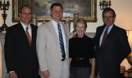 From left, former Buckhead Heritage Society president and founding member Wright Mitchell; vice president Chad Wright; and founding members Tamara Bazzle and Bob Helget. (Special)