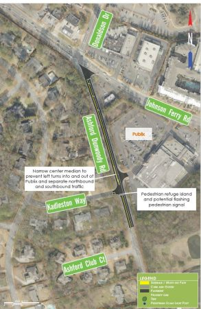 Short-term recommendations for Johnson Ferry Road at Ashford-Dunwoody Road. Click to enlarge.
