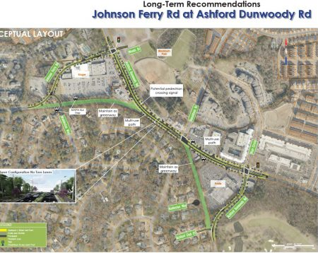 Long-term recommendations for Johnson Ferry Road at Ashford-Dunwoody Road. Click to enlarge.
