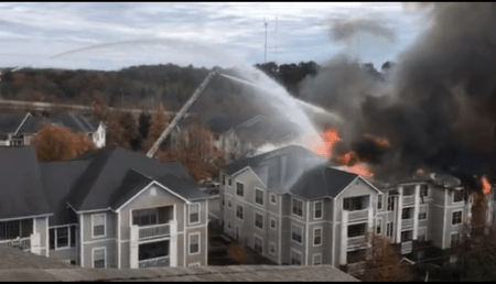 The Dec. 3 fire at the 771 Lindbergh apartments in Buckhead. (Photo CBS46)