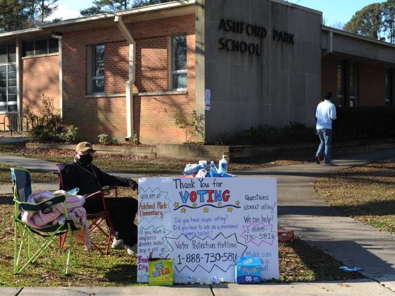 Ashford Park Elementary School polling site in Brookhaven