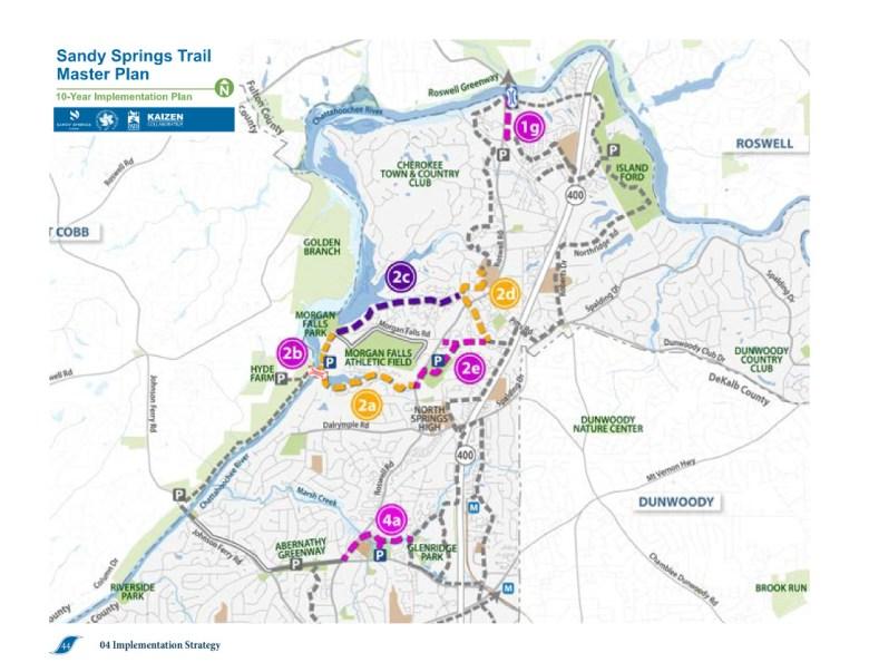Sandy Springs Trail Master Plan 10-Year Implementation Plan map