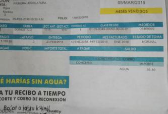 PESE A  NO TENER AGUA EN SUS CASAS, LLEGA EL RECIBO DE LA CAPA A LOS CHETUMALEÑOS PARA IR A PAGAR