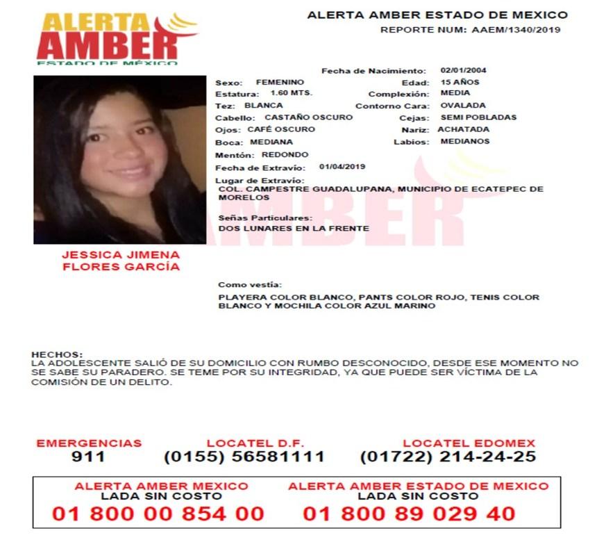 ALERTA AMBER DE JESSICA JIMENA FLORES GARCÍA