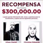 OFRECE FGJEM UNA RECOMPENSA DE HASTA 300 MIL PESOS PARA LOCALIZAR Y APREHENDER A DOS PROBABLES PARTICIPES DE HECHOS DELICTIVOS