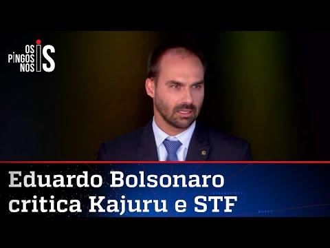 """Eduardo Bolsonaro enquadra Kajuru: """"Falta caráter!"""""""
