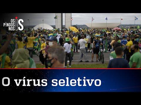 O curioso caso do vírus que só ataca em manifestações de direita