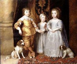 Futuro Carlos II de Inglaterra em criança, com os irmãos e os seus cães de estimação. Óleo de Anthony Van Dyck, 1635