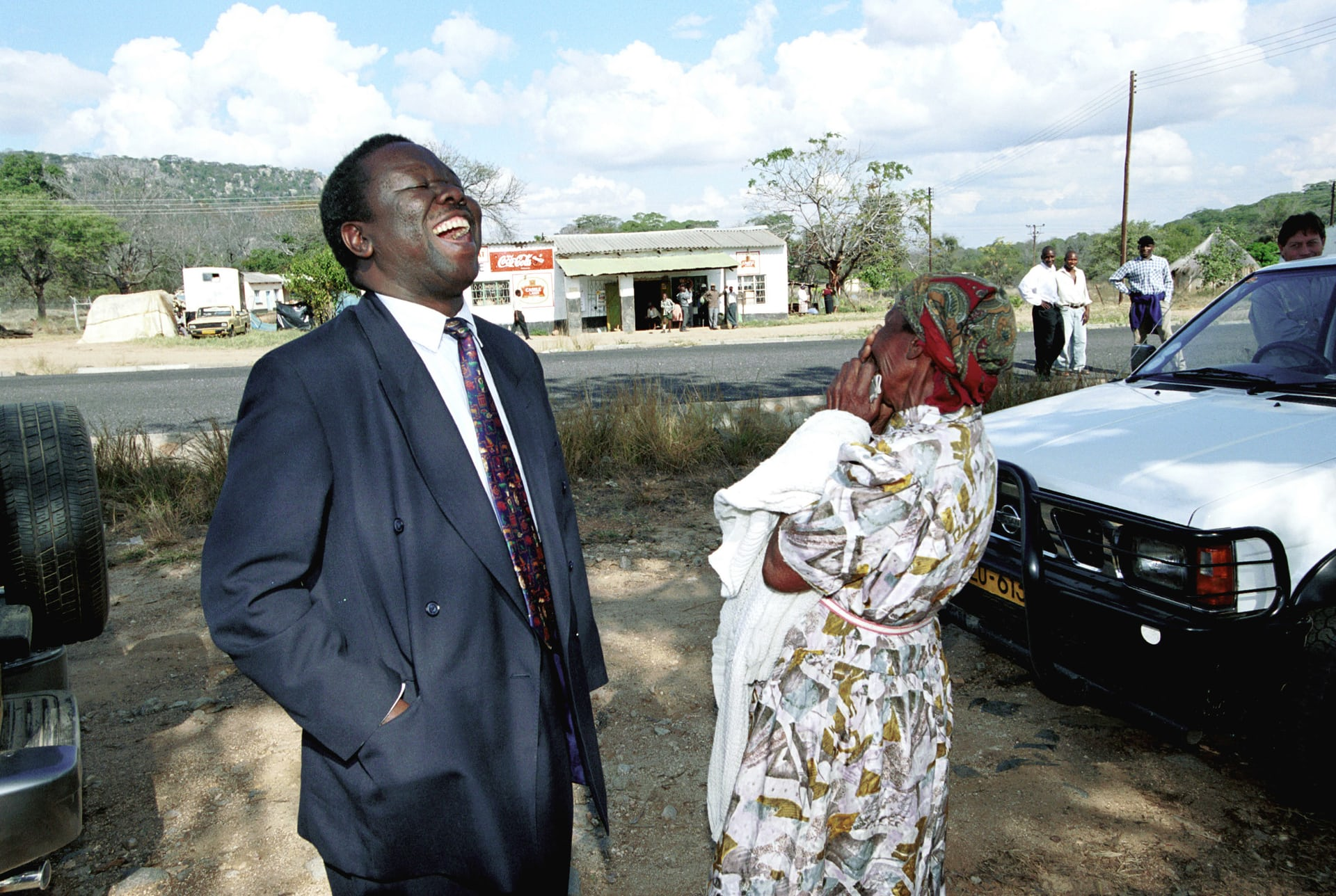 Tsvangirai on his way to vote in parliamentary elections in June 2000. Photograph: Per-Anders Pettersson/Getty Images
