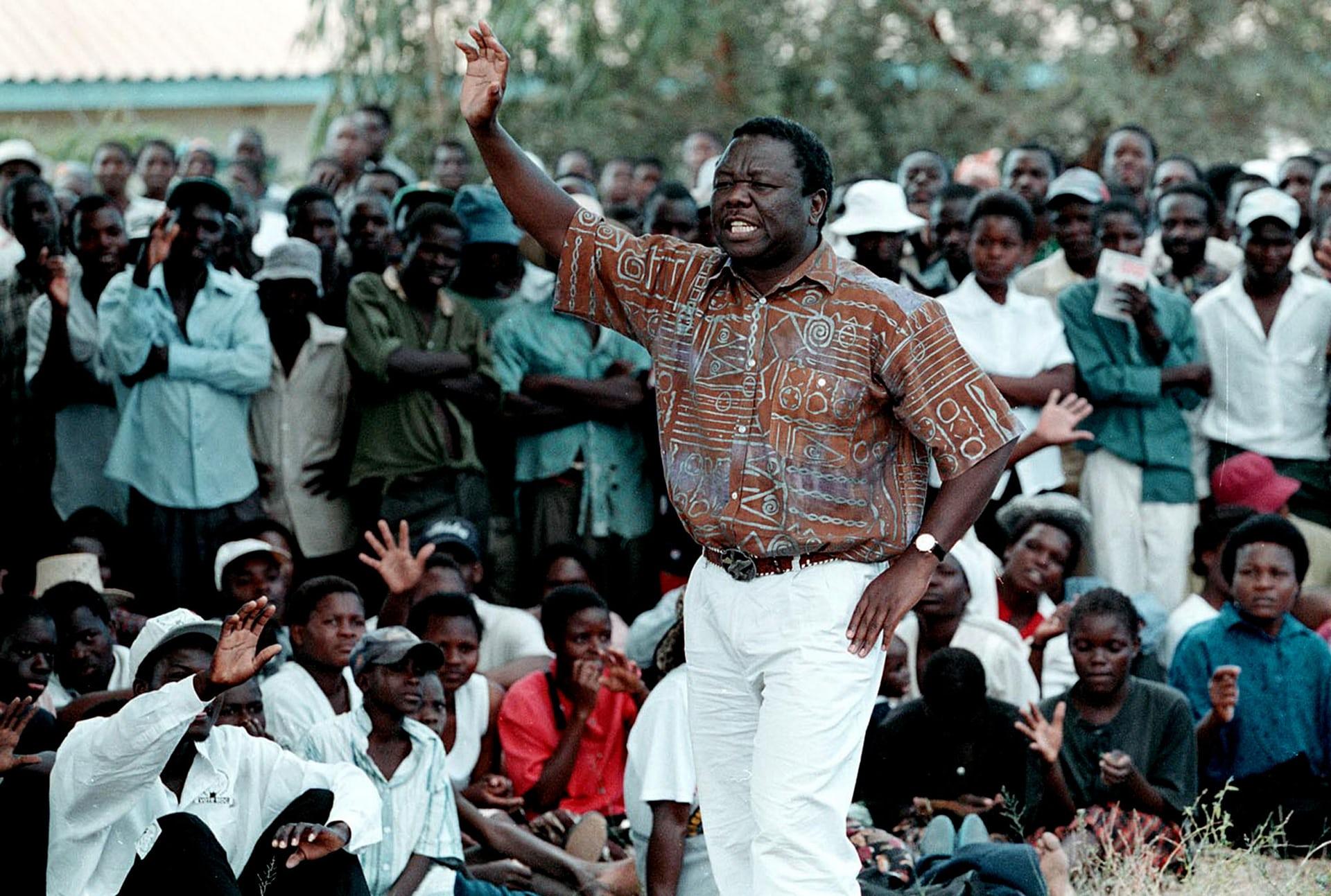 Tsvangirai at a rally in Murambinda in April 2000. Photograph: Karel Prinsloo/AP
