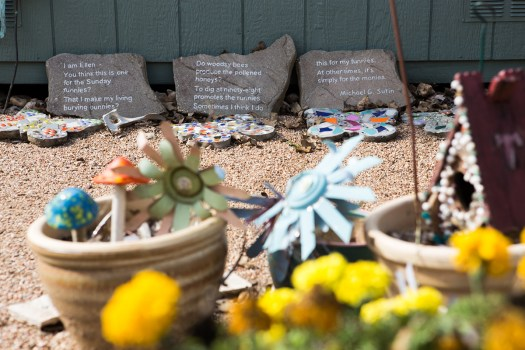 Owner Ellen Macdonald makes all of the memorial stones and decorations at Eloise Woods by hand. Christian Benavides