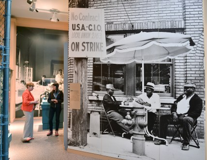 Workers are seen in a photo outside Stop 14 during the 1956 strike at Youngstown Sheet and Tube.