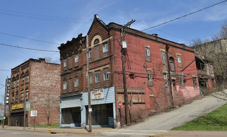 Abandoned buildings along the main street.