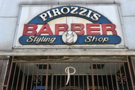 The closed-up town barber shop