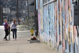 Students Shannon Rodgers and Rachael Russell have been documenting graffiti in town for their post secondary courses.