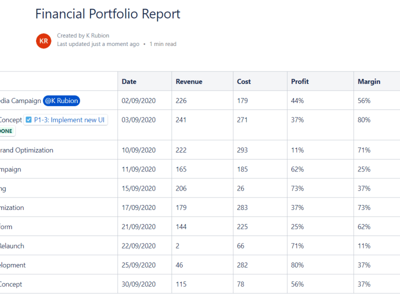 Jira Financial Portfolio Report